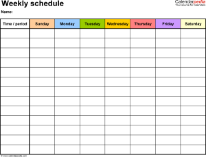 New Weekly Schedule Template